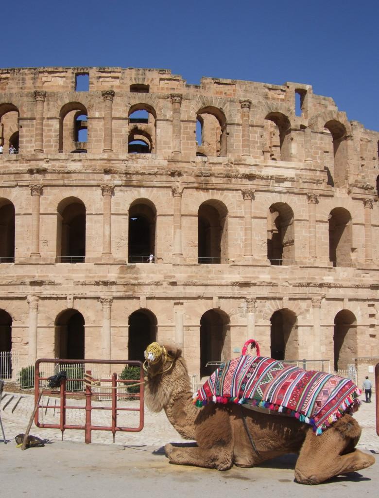 Das Amphitheater von El Djem ist fast so groß wie das Kolloseum in Rom, besser erhalten, und fasst über 30 000 Besucher. Gegenüber des Kolloseums gibt es gemütliche Cafes. Gibt es eine schönere Aussicht beim Tunesischen Salat?