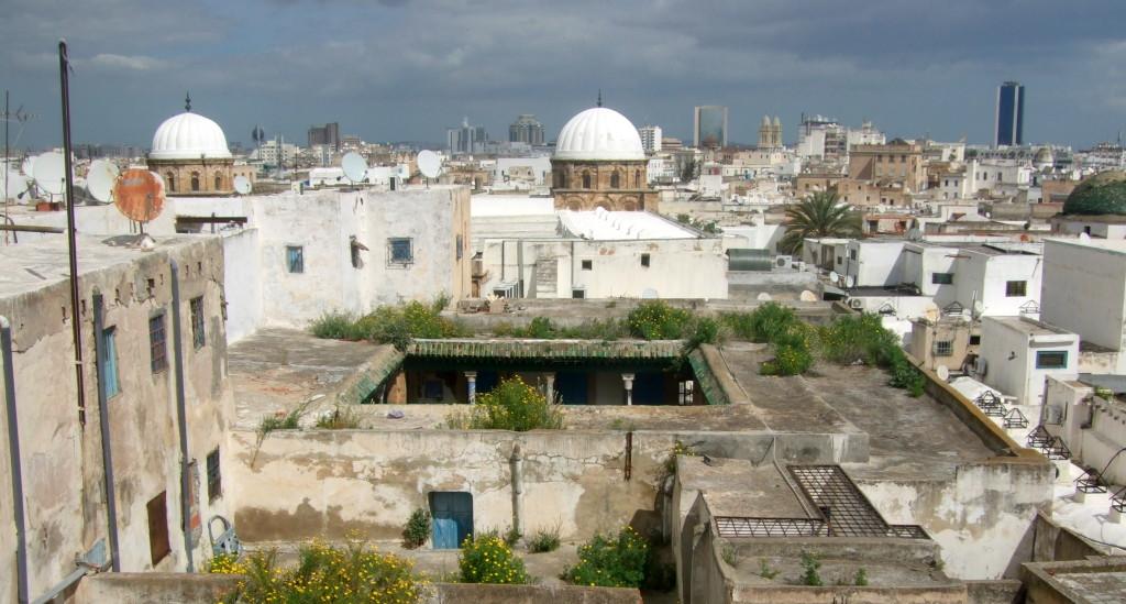 Wie eng die Medina zusammengebaut ist, sieht man von oben. Im Hintergrund das moderne Tunis