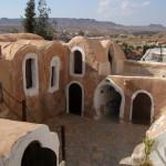 Der Wüstenplanet Tatooine von Star Wars, Heimat von Luke Skywalker. Voila! Ksar Hedada bei Tatouine