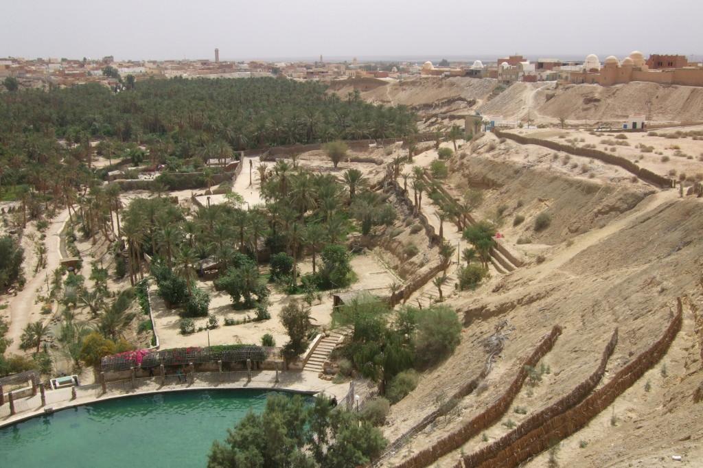 Die Oase Nefta, unser Erholungsort nach der Kamel-Tour. Fruchtbares Land rund um die Courbeille, die Quelle.