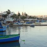 Marsaxlokk, Blick bei Abendessen (Lampuki Fisch)