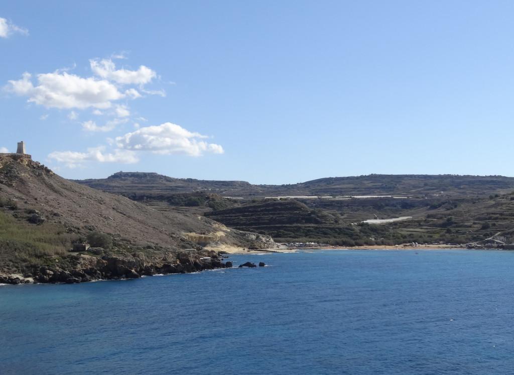 Gnejna Bay, dahinter liegt Mgarr, das ist mein nächstes Rad-Ziel