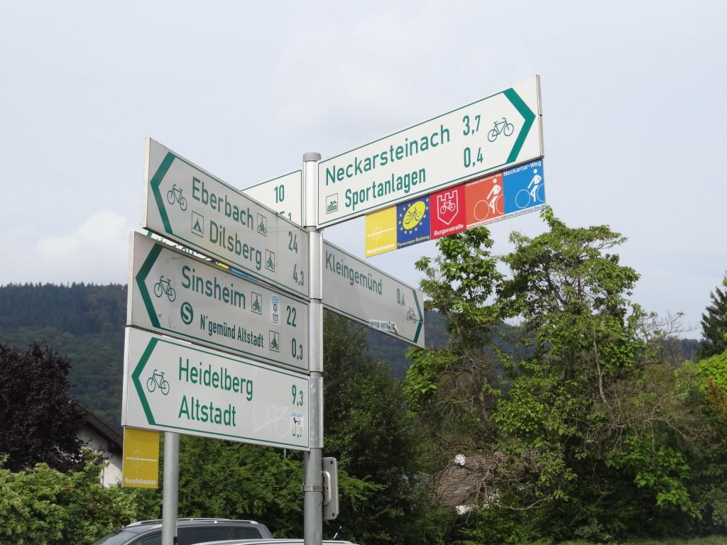 Kurpfalzachse, Paneuropa, Burgenstraße-Odenwald-Madonnen-Weg, Neckartal-Weg